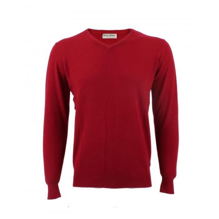 Pull col V Yves Enzo Laine Cachemire Rouge Rouge - Achat   Vente ... f529e9a109a2