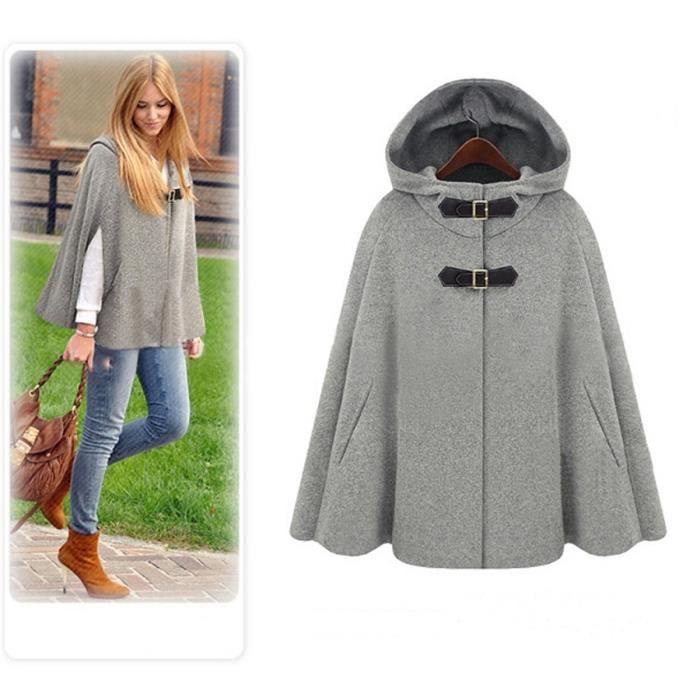 62704983a9fb Manteau femme hiver en forme de cape à capuche fille châle avec poches  laine Girs nouveauté haute qualité