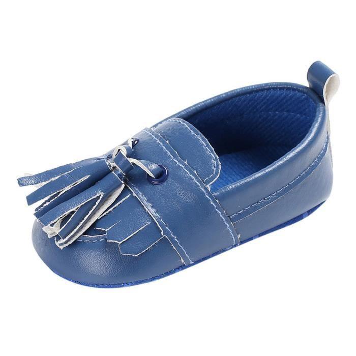 BOTTE Chaussures de bébé garçon fille nouveau-né cuir crèche chaussures à semelle souple@Bleu