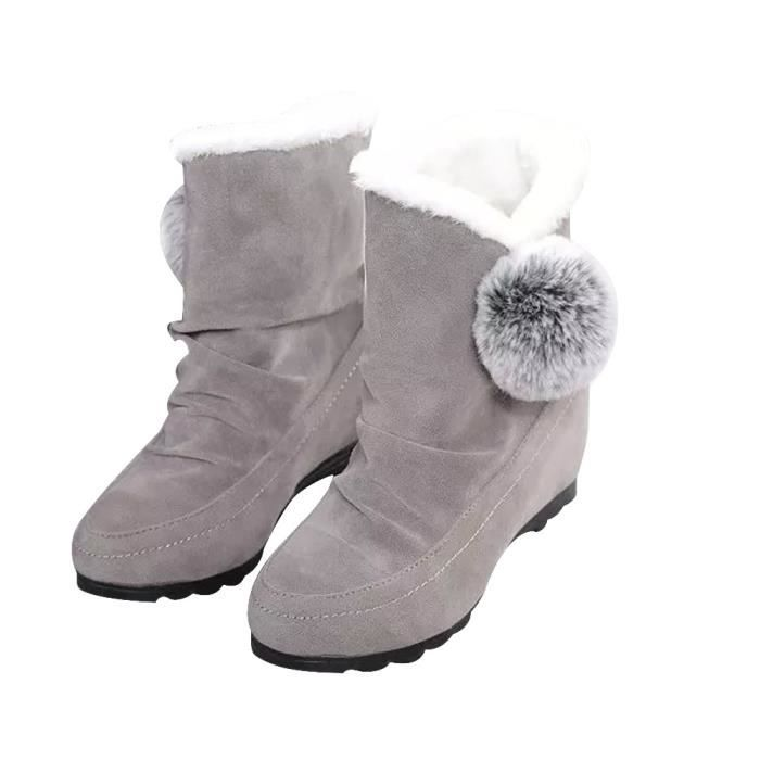 Femmes Mode Cheville Bottes Appartements Chaussures Casual Chaud Daim Chaussures Confortable