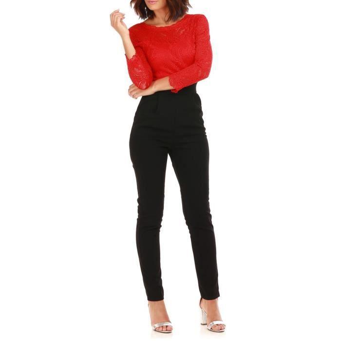 97a4acc43d141 Combinaison pantalon rouge et noir à dentelles-S Noir Noir - Achat ...