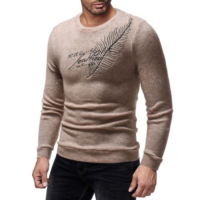 Pull homme tendance de Marque broderie Manches longues col rond coupe slim  pull à la mode Vêtement Masculin a7d8c0a20708