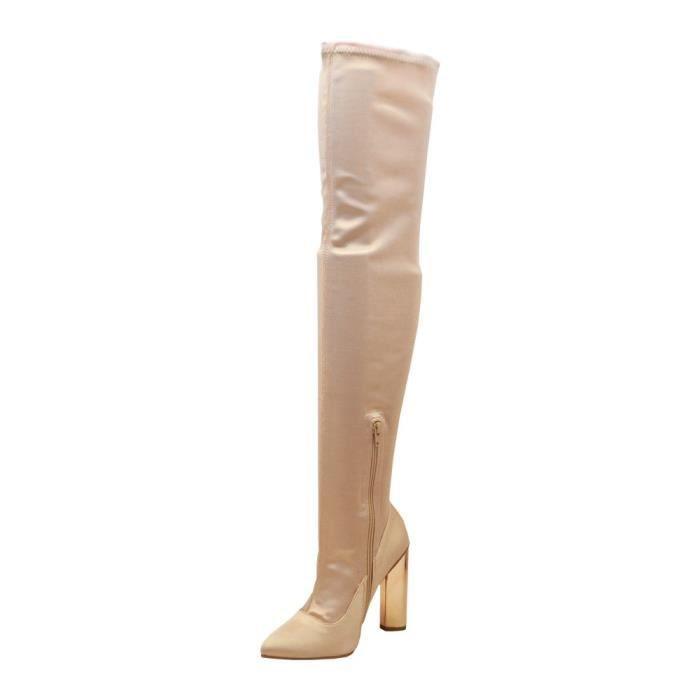 Parma-04x Femmes Pointy Toe Chunky talon métallique Plus Cuissardes YNR8J Taille-39