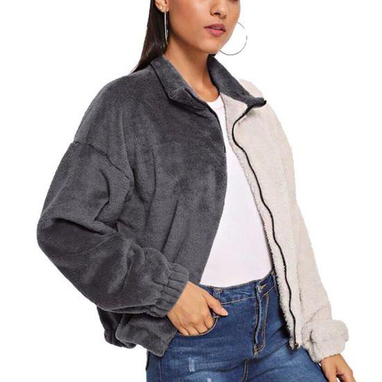 Gris Poil Chaude De Mode Parka Chaud Frandmukes1591 Outwear Couverture Zipper Casual Femmes Manteau Belle Solide D'hiver 6w7qT5PHq