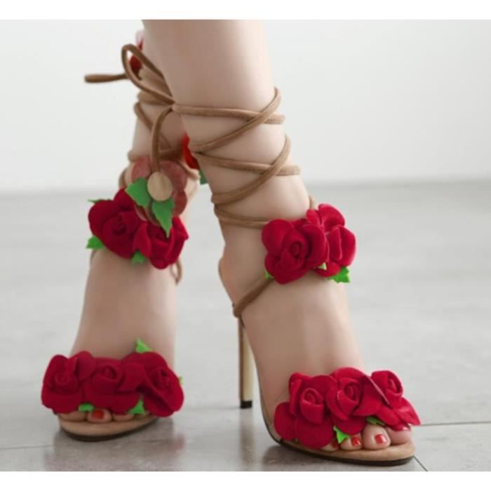 Mode Été Sandals Femme Rose Fleur Conception Croix Laçage Sexy Chaussures à Talons Hauts Grande Taille Bureau Mariage Chaussures
