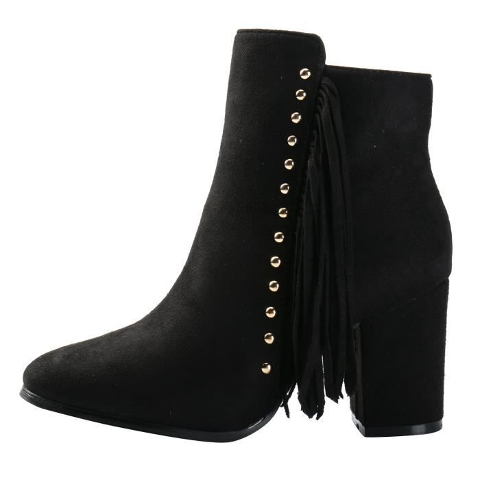 Suede Fringe Western Inside Zipper Stacked Heel Ankle Boots TZ608 Taille-39