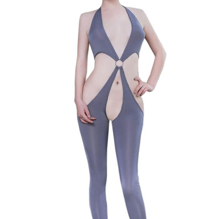 Mesh Foncé Ouverte Bodys Crotch Lingerie Bodystocking Femmes Gris B5qZ0