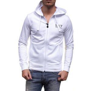 GILET - CARDIGAN Veste zippée EA7 Emmporio Armani Blanche à capuche
