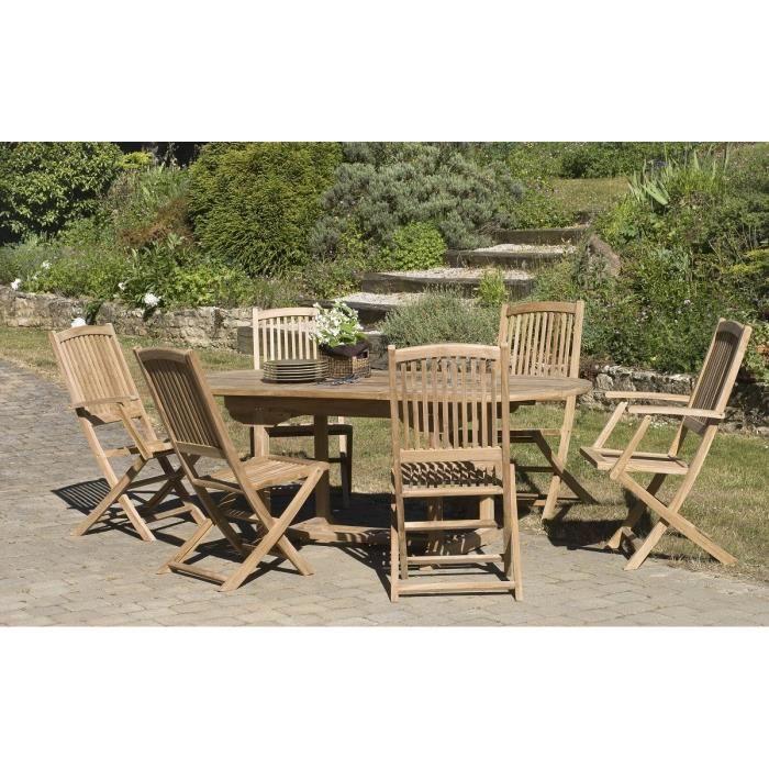 Table ovale en teck, 4 chaises et 2 fauteuils - Achat / Vente ...