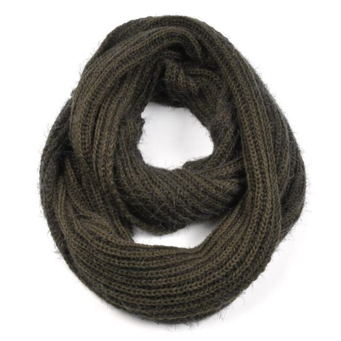 b1940d5ce119 Echarpe tube tricot VERT KAKI Vert - Achat   Vente echarpe - foulard ...