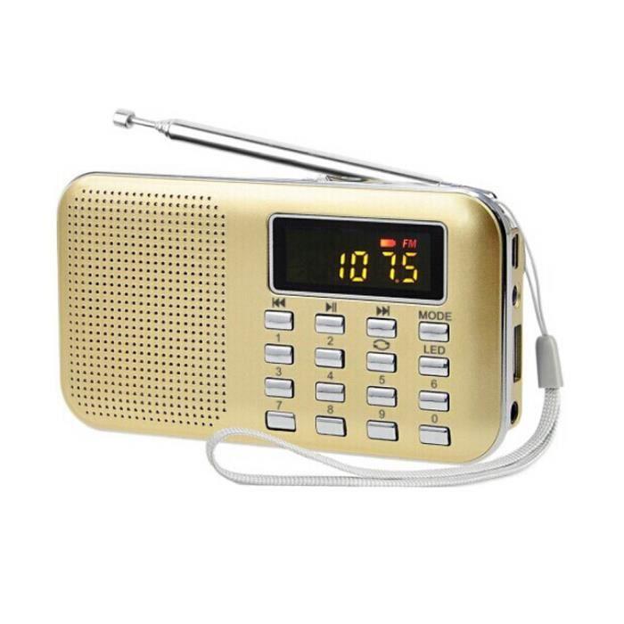 Ultra-mince Fm Am Radio Supper Numérique Basse Mini Haut-parleur Usb Tf Lcd Aux Led Lumière @345