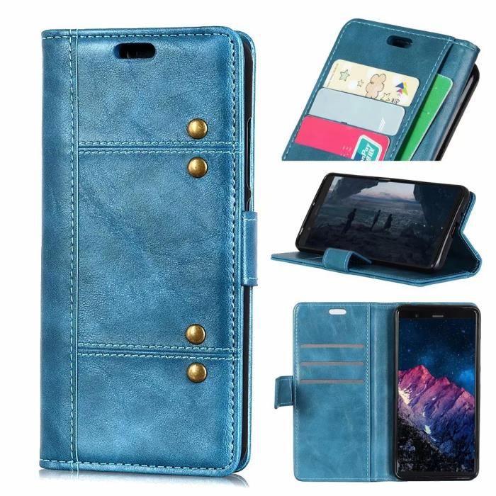 HOUSSE - ÉTUI etui pour Xiaomi Mi 8. bleu rivets en métal vintag