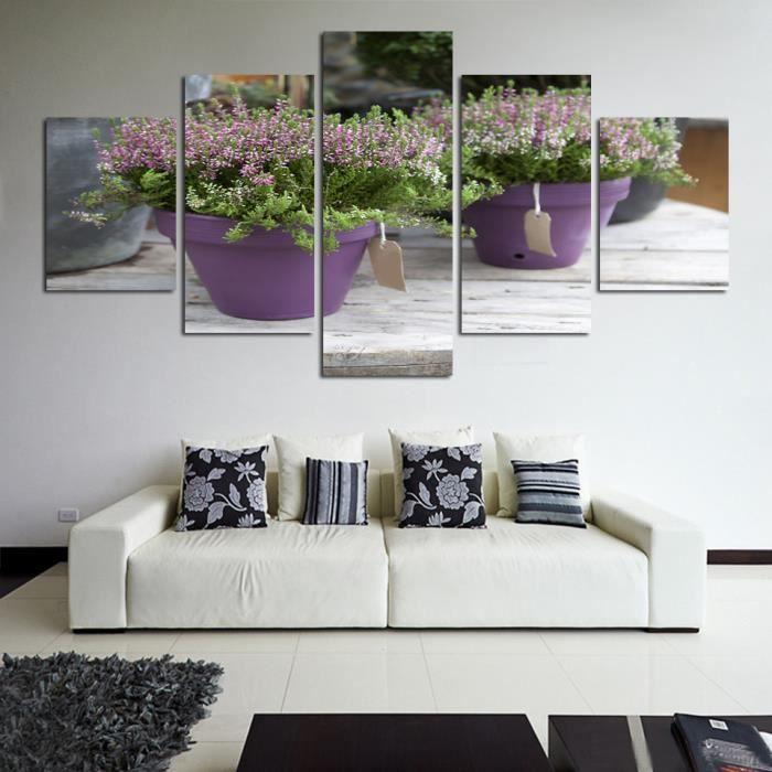 Peinture De Toile Fleurs En Pot De Lavande Pour Le Salon Des Enfants