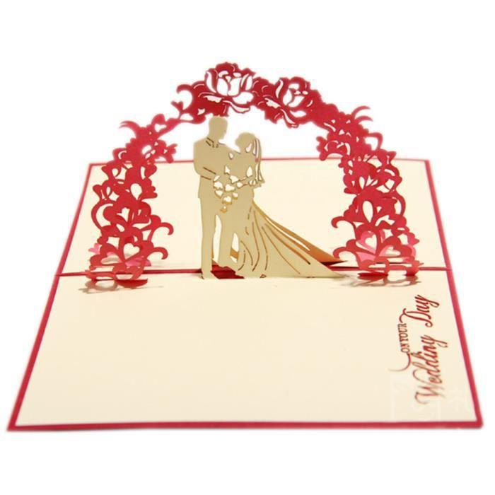 creative en papier 3d sculptures cartes de voeux    mariage site bricolage  rouge   vente