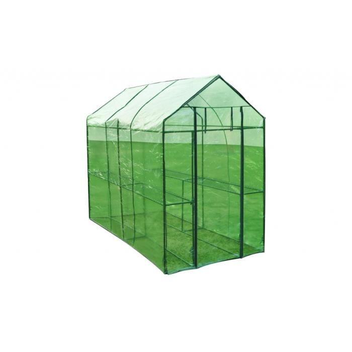 Serre de jardin verte 240 x 120 x 190 cm - Achat / Vente serre de ...