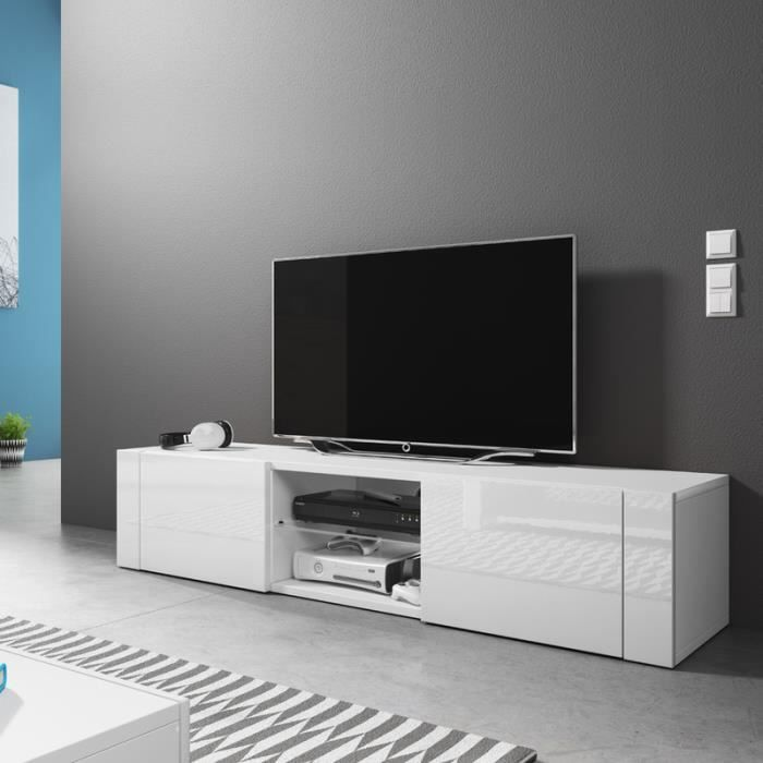 meuble tv blanc brillant. Black Bedroom Furniture Sets. Home Design Ideas