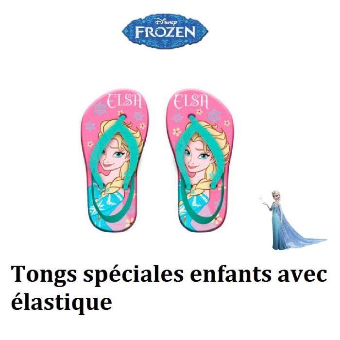 18b0431d21094 Tong fille 24 - 25 avec élastique Frozen chaussure été enfants avec Elsa la  reine des neiges sandale de bain rose Disney