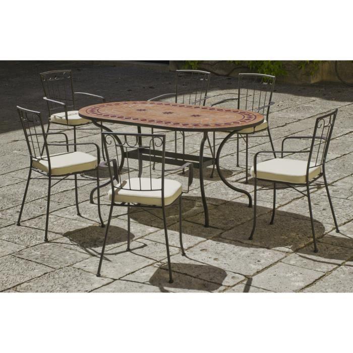 Salon de terrasse mosaïque avec fauteuils 6 fauteuils - Achat ...