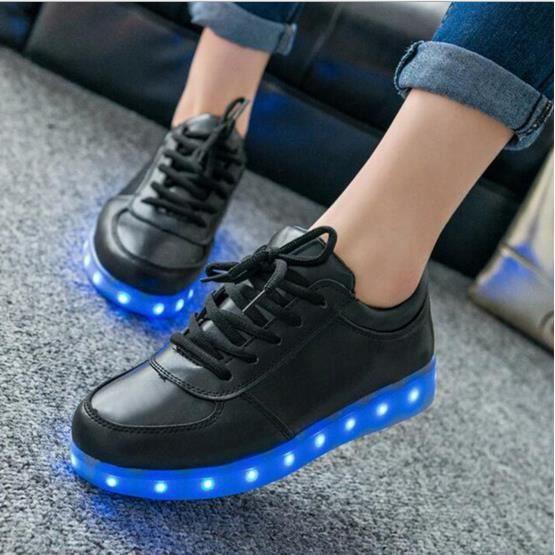 7 Couleur Unisexe Homme Femme USB Charge LED Lumière Lumineux Clignotants Chaussures de Sports Baskets Noir Taille Asiatique