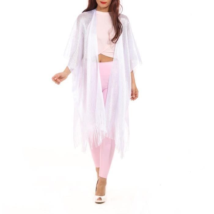 d7900ffd731d4 La Modeuse - Foulard femme scintillant avec deux ouvertures Blanc ...