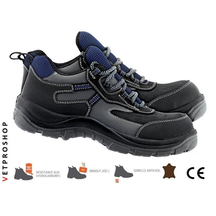 nouveau concept 4fa4a c6313 XPR PRO chaussures de sécurité Basses - cuir de buffle - Légères et souples  Homme Mixte chaussure de travail