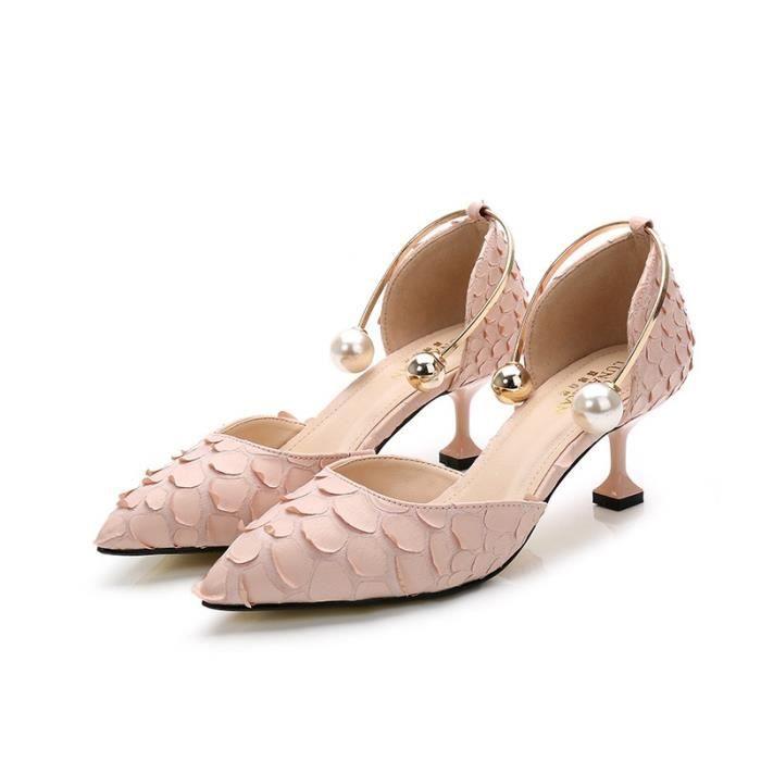 Belle perle Sexy Point de métal Toe Patent Leahter Hauts talons Chaussures femme Escarpins Sandales noires Talons Chaussures,rose,33