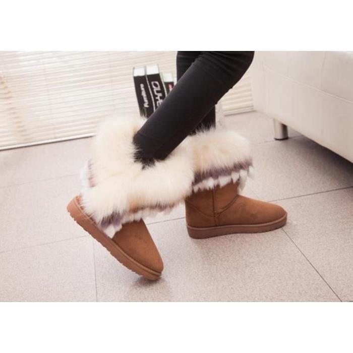 Bottes de neige cheville BottineMode Nouvelles femmes chaudes fourrure synthétique Chaussures 3 Couleurs