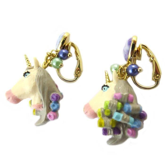 Boucles doreilles clips artisanales Monde Merveilleux (Licorne) multicolore pastel - 35x20 mm [P1992]