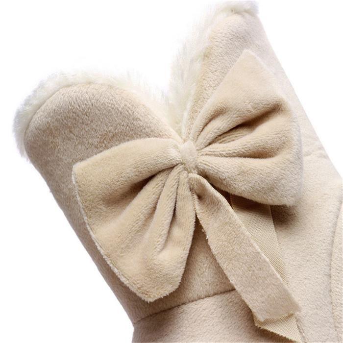Femmes bottes papillon Doux Plat bottes De plus velours chaussure mode chaud occasionnels belles bottes d hiver