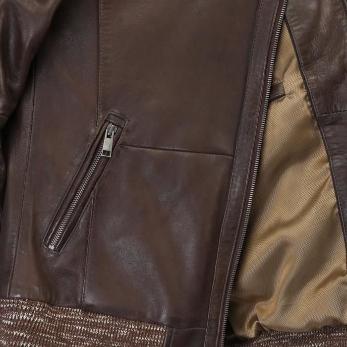Stitched premium Quality XL Brown Racing Jacket BKNXE Leather Dark Men's Quilted Taille a14n0Sxq