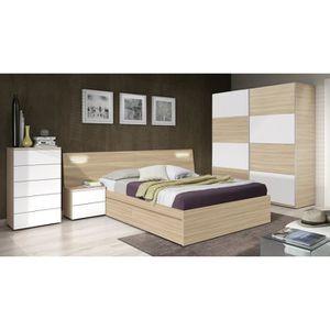 silvia t te de lit style contemporain m lamin blanc brillant et d cor bois avec led 2 chevets. Black Bedroom Furniture Sets. Home Design Ideas