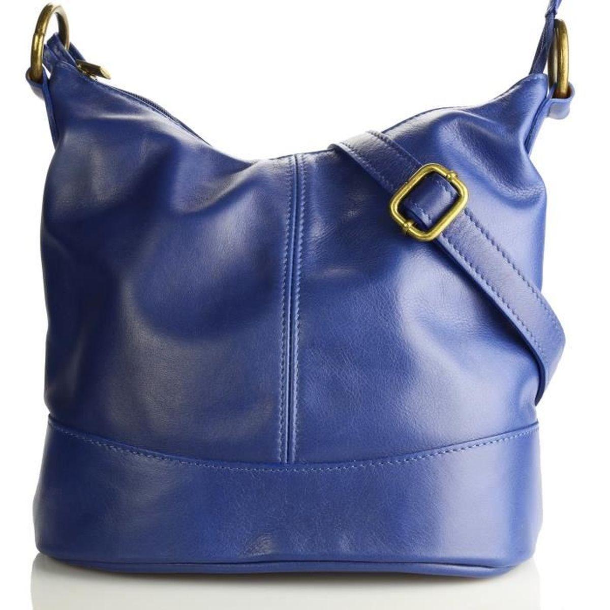 Olivia - Sac à main femme en cuir porté main   bandoulière Modèle  NINA   Collection printemps été - Petit - (Bleu - Cuir) a431721fc00