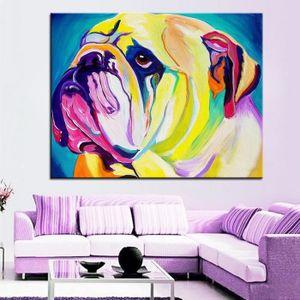 Populaire préféré Tableau bulldog - Achat / Vente pas cher &VG_33