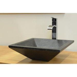 LAVABO - VASQUE Vasque carree en terrazzo noir 40 cm hauteur 13 cm
