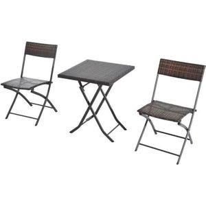 Ensemble meubles de jardin design table carré et chaises pliables ...