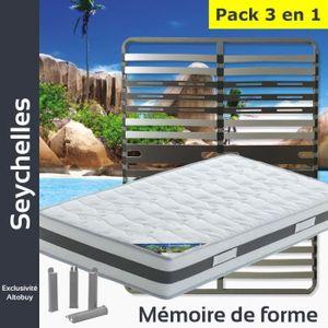ENSEMBLE LITERIE Seychelles - Pack Matelas + AltoZone 140x200 + Pie
