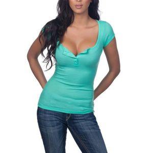 T-SHIRT T-shirt été Femme à Manches Courtes Sexy Décolleté