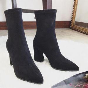Bottes mid-longue Femme En Cuir Classique noir Botte Elégant Couleur unie Talons hauts Chaussure Rétro Taille 35-39 oudg4Y2B