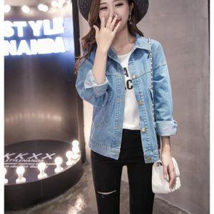 387e2fe94a BLOUSON Mode Femmes Denim Jeans Veste Bleu clair délavé De