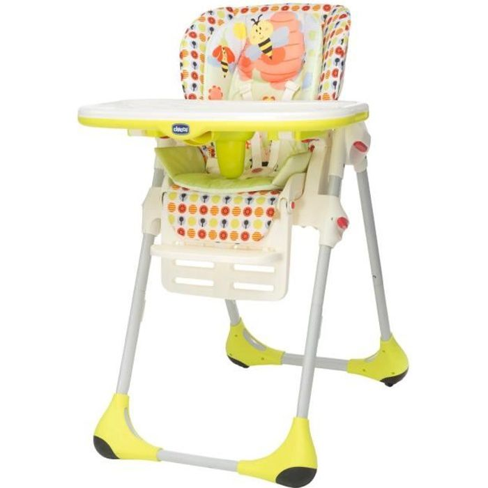 chicco chaise haute polly 2 in 1 sunny vert anis, blanc et