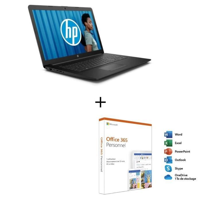 Hp pc portable 15 db0035nf 156 hd amd a4 ram 4 go stockage 1 to azerty windows 10 noir office 365 personnel