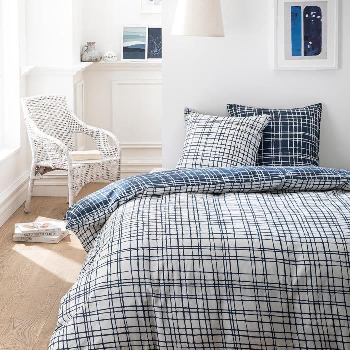 TODAY Parure de couette 100 % Coton 220x240cm SUNSHINE #3.47 - Bleu et blanc