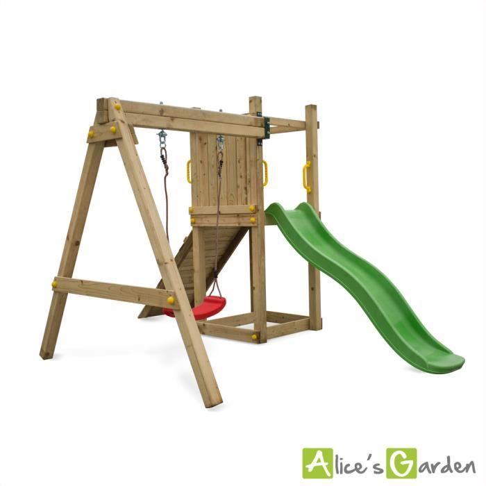 Aire De Jeux Bise En Bois Avec Toboggan 1 Balancoire Corde Et