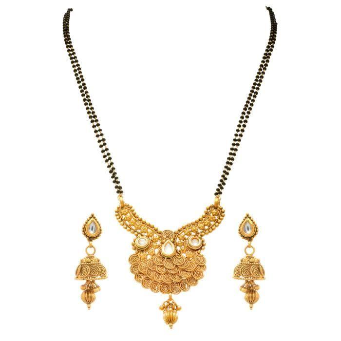 Spirale Kundan un gramme plaqué or noir perlé double de galsutra de la chaîne des femmes avec boucles doreilles Jhumka F AHL6U