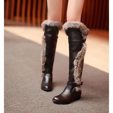 Les souliers d'hiver cuissardes bottes à talons hauts bottes Martin bottes coréennes, noir 36