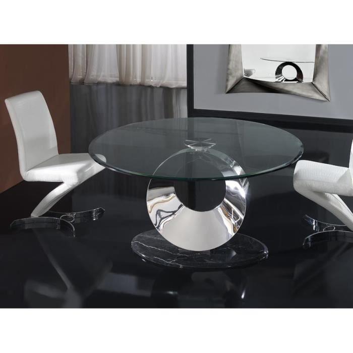 Table design de salle a manger ronde en verre, acier et marbre 150 ...