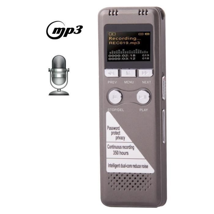 (#63) Professional 8gb Lcd Digital Voice Recorder With Vor Mp3 Player(grey)