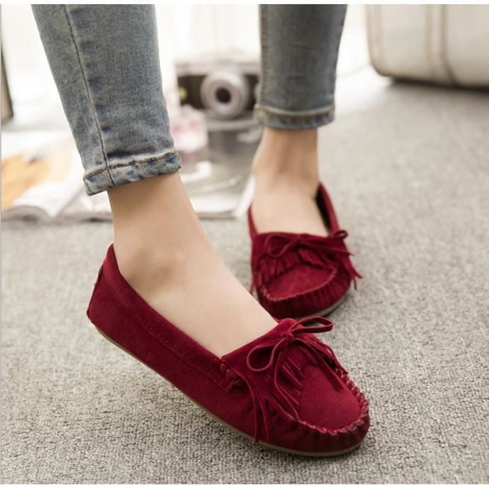 Casual Walking cuir Mocassins Femme ronde Toe S... ngleWp5