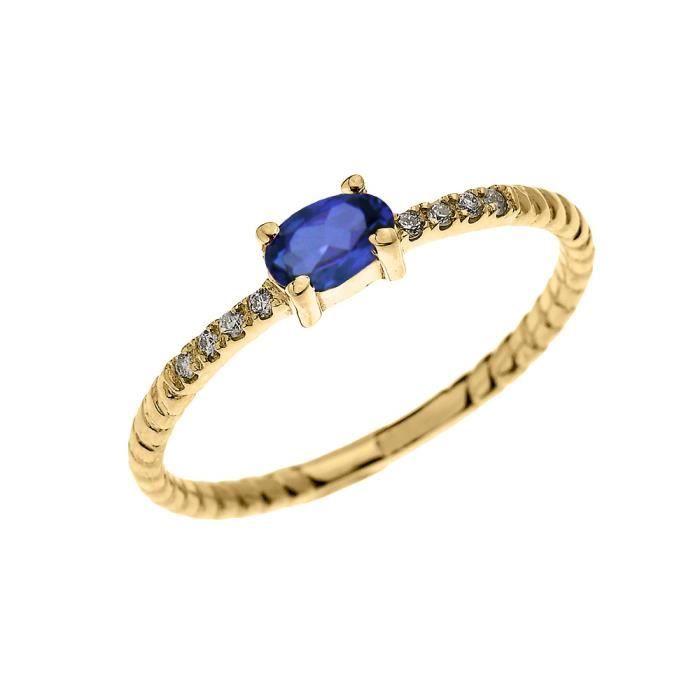 Bague Femme 10 Ct Or Jaune Solitaire Ovale Saphir Et Diamant Conception De Corde