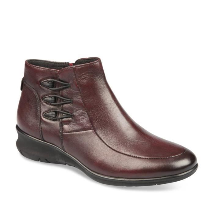 Bottines ROUGE NEOSOFT FEMME CUIR Femme Chaussea Rouge